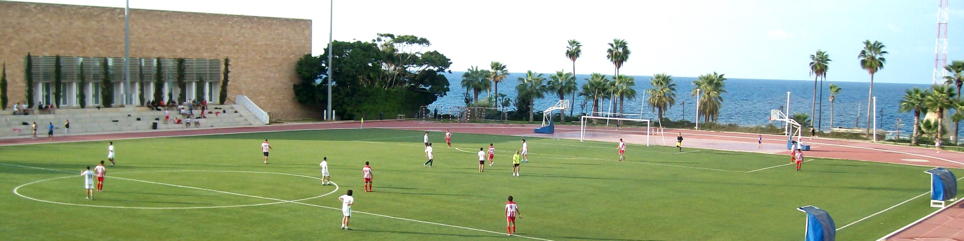 Football pitch overlooking the sea at American University of Beirut