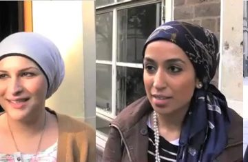 Women answering questions about hijab